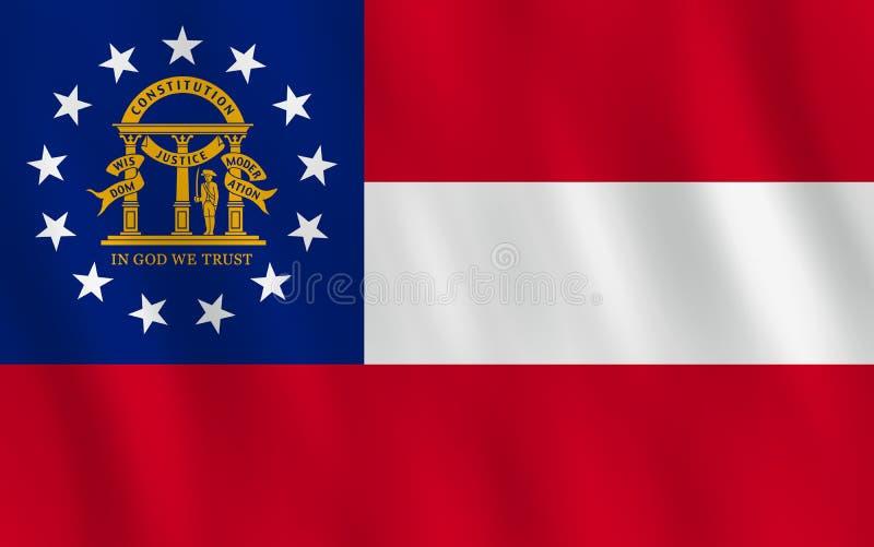 Κρατική σημαία της Γεωργίας ΗΠΑ με την επίδραση κυματισμού, επίσημη αναλογία απεικόνιση αποθεμάτων
