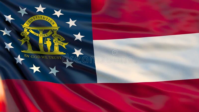 Κρατική σημαία της Γεωργίας Κυματίζοντας σημαία του κράτους της Γεωργίας, Ηνωμένες Πολιτείες της Αμερικής απεικόνιση αποθεμάτων