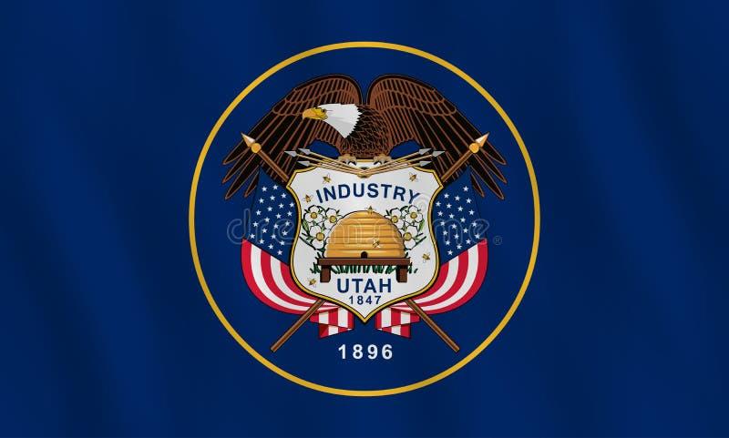 Κρατική σημαία της Γιούτα ΗΠΑ με την επίδραση κυματισμού, επίσημη αναλογία απεικόνιση αποθεμάτων