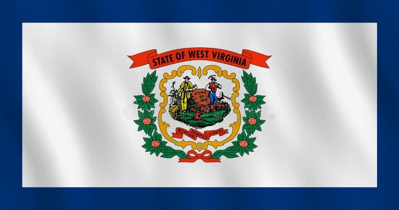 Κρατική σημαία της δυτικής Βιρτζίνια ΗΠΑ με την επίδραση κυματισμού, επίσημη αναλογία απεικόνιση αποθεμάτων