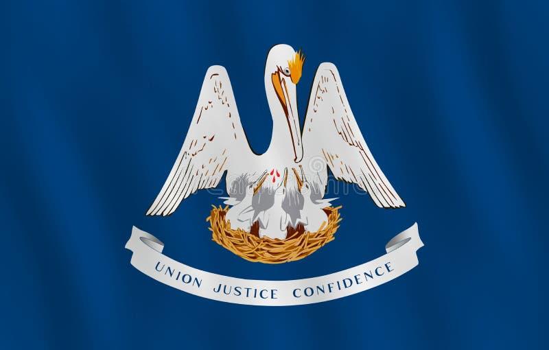 Κρατική σημαία της Λουιζιάνας ΗΠΑ με την επίδραση κυματισμού, επίσημη αναλογία απεικόνιση αποθεμάτων
