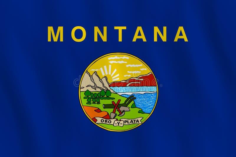 Κρατική σημαία της Μοντάνα ΗΠΑ με την επίδραση κυματισμού, επίσημη αναλογία διανυσματική απεικόνιση
