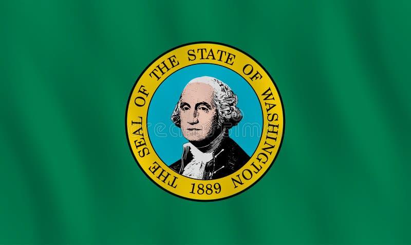 Κρατική σημαία της Ουάσιγκτον ΗΠΑ με την επίδραση κυματισμού, επίσημη αναλογία ελεύθερη απεικόνιση δικαιώματος