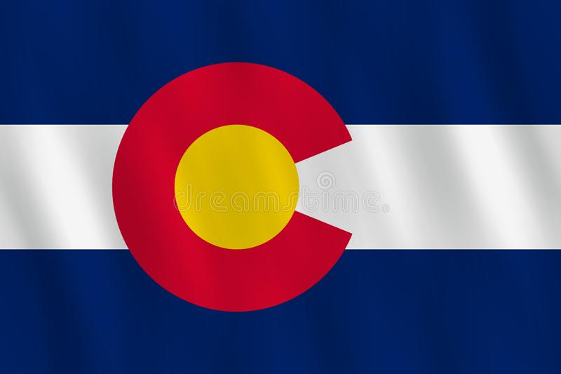 Κρατική σημαία του Κολοράντο ΗΠΑ με την επίδραση κυματισμού, επίσημη αναλογία ελεύθερη απεικόνιση δικαιώματος