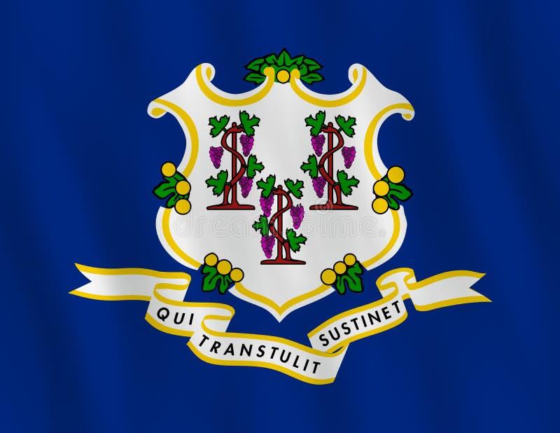 Κρατική σημαία του Κοννέκτικατ ΗΠΑ με την επίδραση κυματισμού, επίσημη αναλογία διανυσματική απεικόνιση