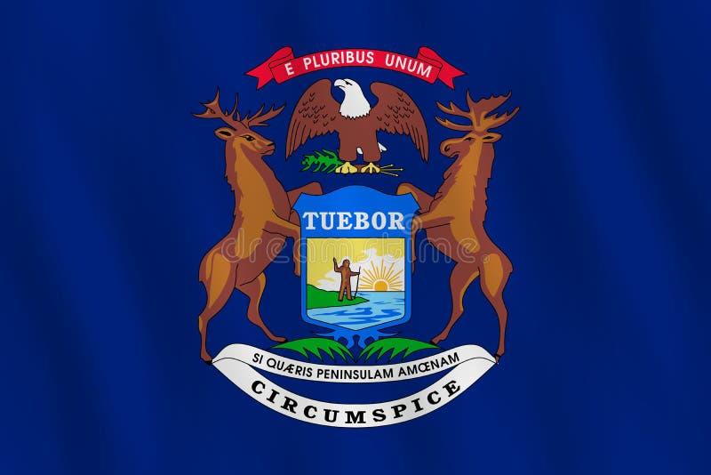 Κρατική σημαία του Μίτσιγκαν ΗΠΑ με την επίδραση κυματισμού, επίσημη αναλογία διανυσματική απεικόνιση