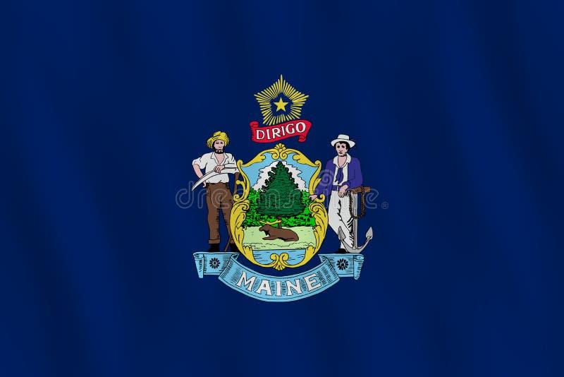 Κρατική σημαία του Μαίην ΗΠΑ με την επίδραση κυματισμού, επίσημη αναλογία ελεύθερη απεικόνιση δικαιώματος