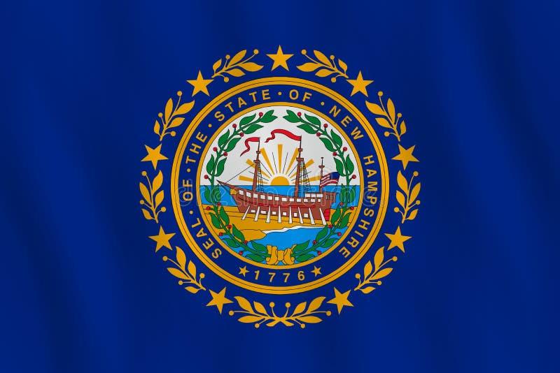 Κρατική σημαία του Νιού Χάμσαιρ ΗΠΑ με την επίδραση κυματισμού, επίσημη αναλογία ελεύθερη απεικόνιση δικαιώματος