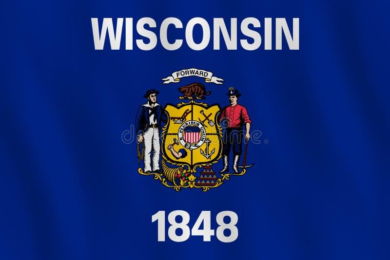 Κρατική σημαία του Ουισκόνσιν ΗΠΑ με την επίδραση κυματισμού, επίσημη αναλογία απεικόνιση αποθεμάτων