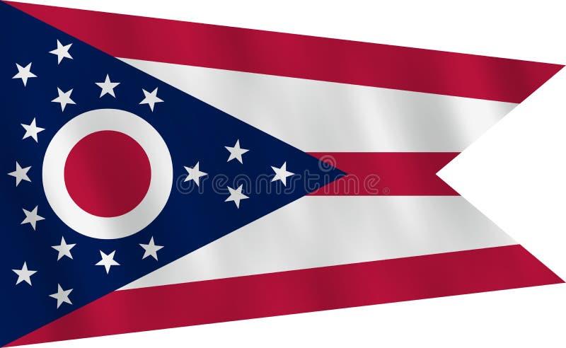 Κρατική σημαία του Οχάιου ΗΠΑ με την επίδραση κυματισμού, επίσημη αναλογία ελεύθερη απεικόνιση δικαιώματος