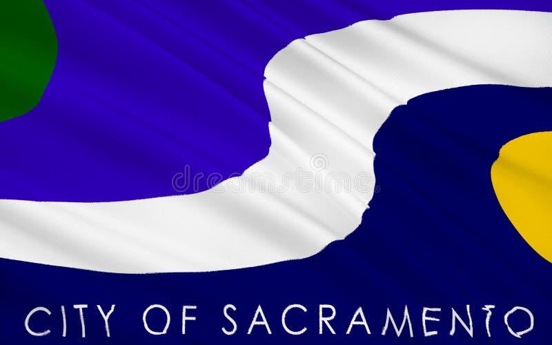 Κρατική σημαία του Σακραμέντο - μια πόλη στις δυτικές Ηνωμένες Πολιτείες διανυσματική απεικόνιση