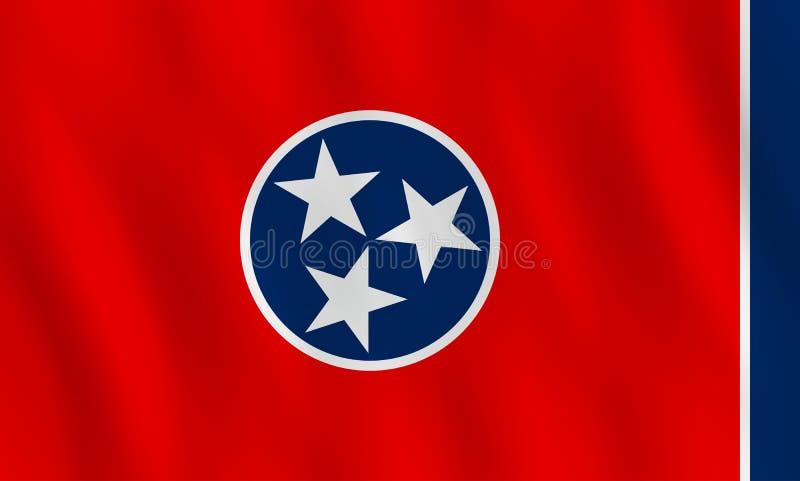 Κρατική σημαία του Τένεσι ΗΠΑ με την επίδραση κυματισμού, επίσημη αναλογία ελεύθερη απεικόνιση δικαιώματος