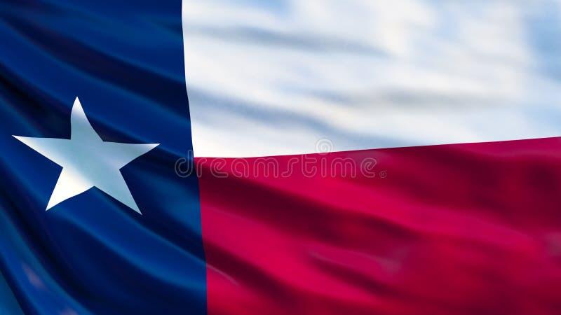 Κρατική σημαία του Τέξας Κυματίζοντας σημαία του κράτους του Τέξας, Ηνωμένες Πολιτείες της Αμερικής διανυσματική απεικόνιση