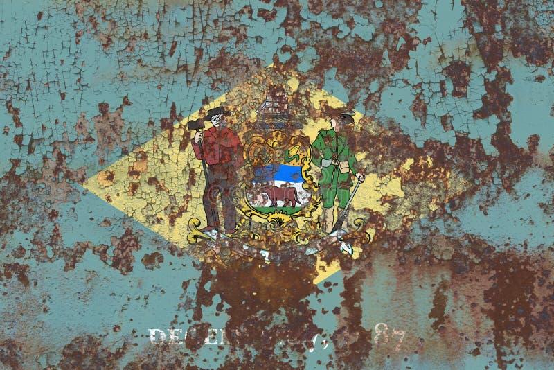 Κρατική grunge σημαία του Ντελαγουέρ, Ηνωμένες Πολιτείες της Αμερικής στοκ φωτογραφίες