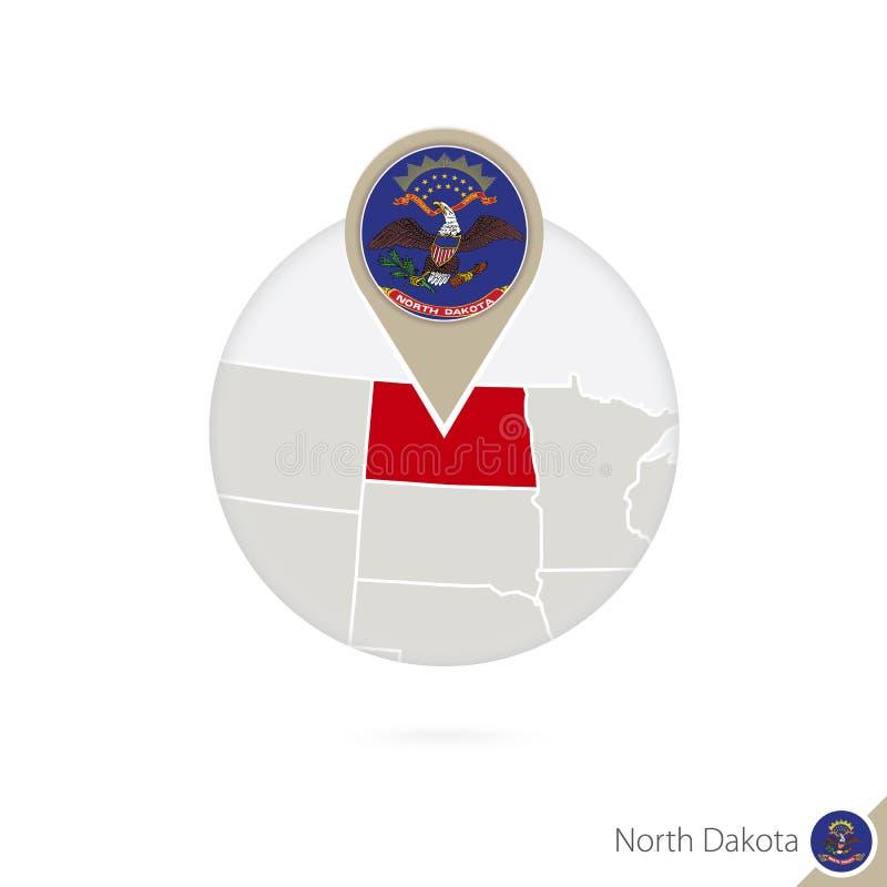 Κρατικοί χάρτης και σημαία της βόρειας Ντακότας ΗΠΑ στον κύκλο Χάρτης καρφίτσα σημαιών της βόρειας Ντακότας, βόρεια Ντακότα Χάρτη ελεύθερη απεικόνιση δικαιώματος