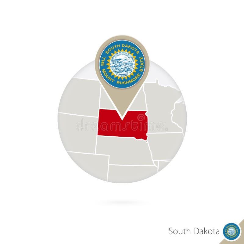 Κρατικοί χάρτης και σημαία της νότιας Ντακότας ΗΠΑ στον κύκλο Χάρτης καρφίτσα σημαιών της νότιας Ντακότας, νότια Ντακότα Χάρτης τ απεικόνιση αποθεμάτων