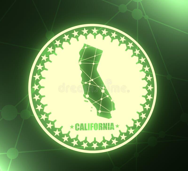 Κρατικός χάρτης Καλιφόρνιας ελεύθερη απεικόνιση δικαιώματος