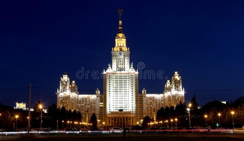 Κρατικό πανεπιστήμιο της Μόσχας Lomonosov (τη νύχτα), κεντρικό κτίριο, Ρωσία στοκ εικόνες με δικαίωμα ελεύθερης χρήσης