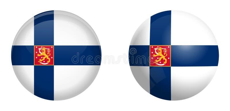 Κρατικό ensign της Φινλανδίας σημαία με το λιοντάρι κάτω από το τρισδιάστατο κουμπί θόλων και στη στιλπνές σφαίρα/τη σφαίρα διανυσματική απεικόνιση