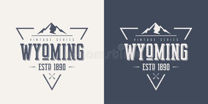 Κρατικών κατασκευασμένο εκλεκτής ποιότητας διανυσματικό μπλουζών και ενδυμασίας του Ουαϊόμινγκ σχέδιο διανυσματική απεικόνιση