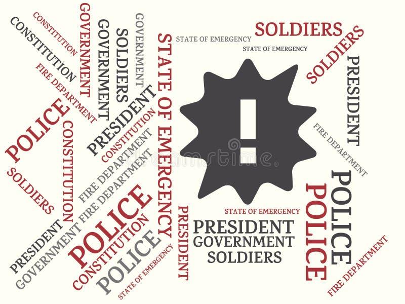 ΚΡΑΤΟΣ της ΕΚΤΑΚΤΗΣ ΑΝΆΓΚΗΣ - εικόνα με τις λέξεις που συνδέονται με το ΚΡΑΤΟΣ θέματος της ΕΚΤΑΚΤΗΣ ΑΝΆΓΚΗΣ, λέξη, εικόνα, απεικό διανυσματική απεικόνιση