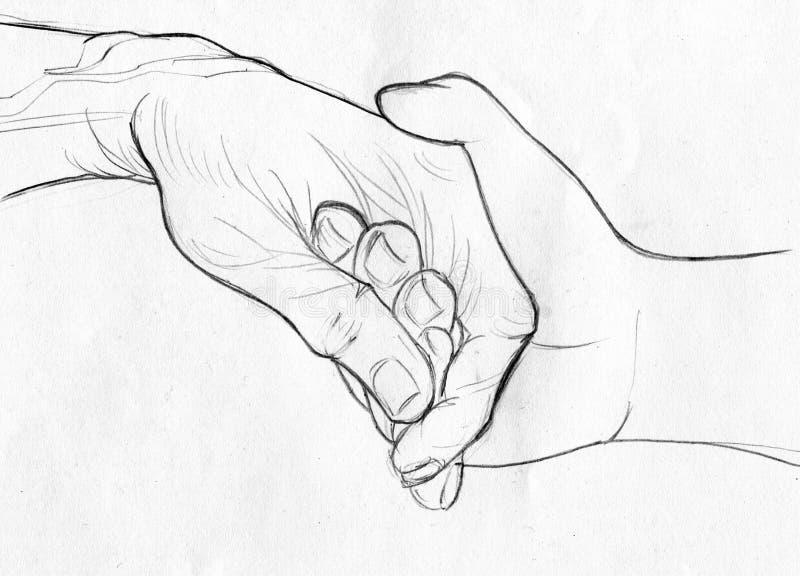 Κρατώντας το ηλικιωμένο χέρι - σκίτσο μολυβιών διανυσματική απεικόνιση