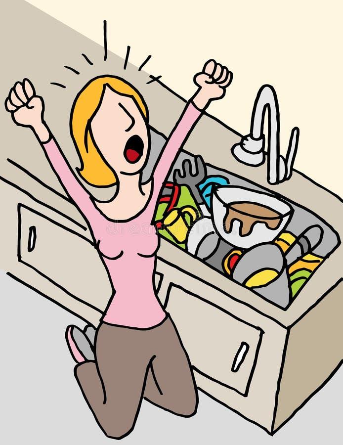 Κραυγάζοντας γυναίκα που κάνει τα πιάτα απεικόνιση αποθεμάτων
