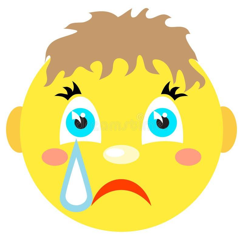 Κραυγές αγοριών Smiley Εικονίδια σε ένα άσπρο υπόβαθρο διανυσματική απεικόνιση