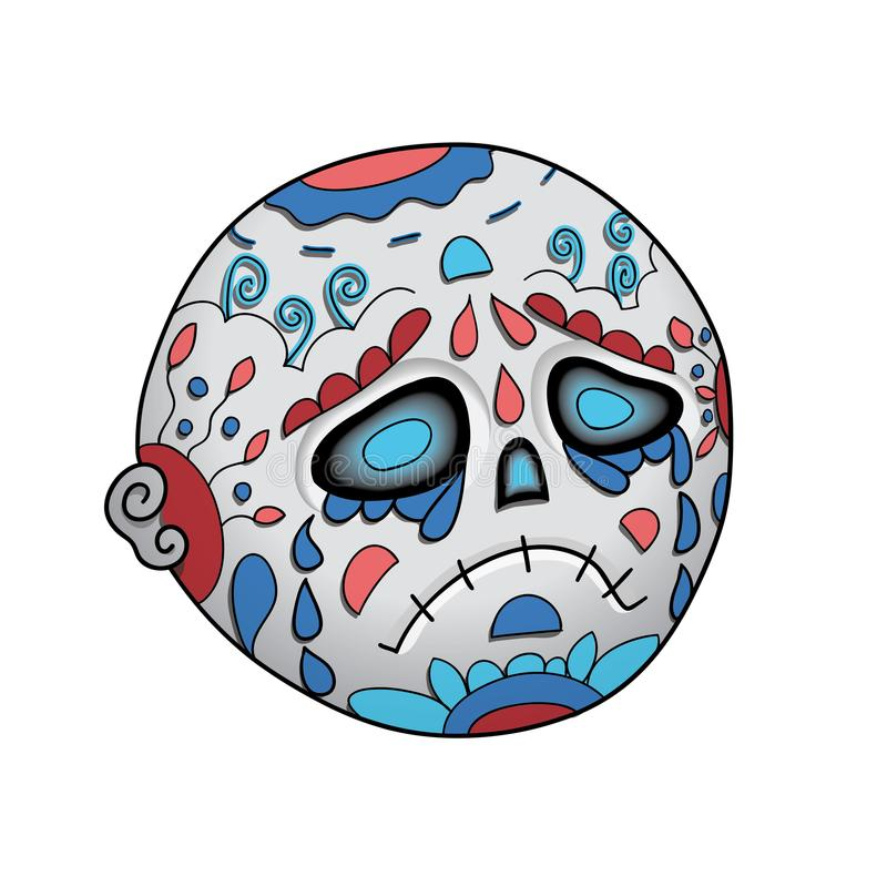 Κραυγή Emoji νεκρή Dia de Los Muertos Ημέρα της νεκρής διανυσματικής απεικόνισης απεικόνιση αποθεμάτων