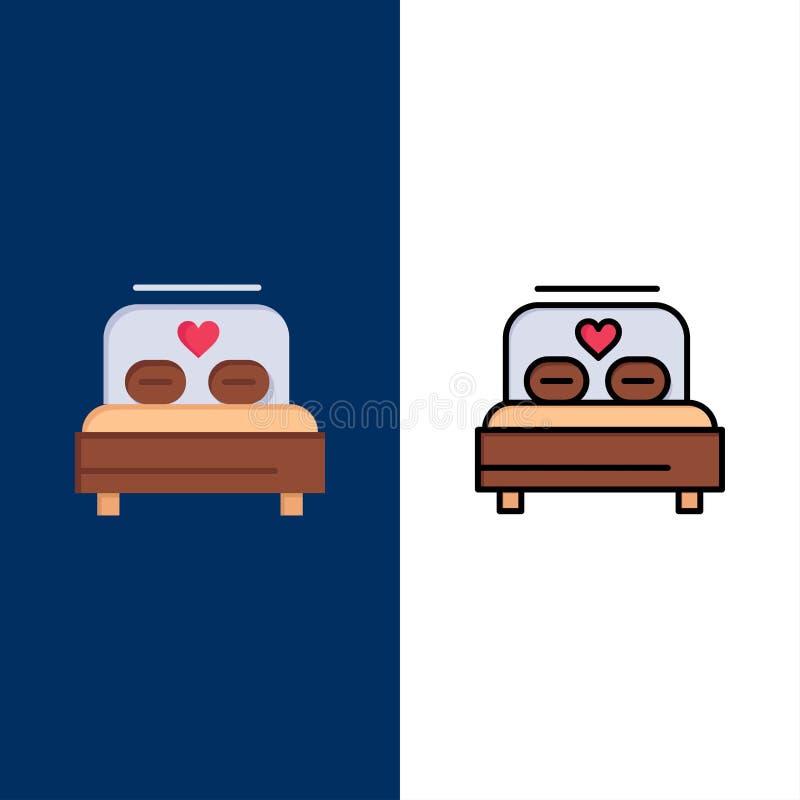 Κρεβάτι, αγάπη, καρδιά, γαμήλια εικονίδια Επίπεδος και γραμμή γέμισε το καθορισμένο διανυσματικό μπλε υπόβαθρο εικονιδίων απεικόνιση αποθεμάτων