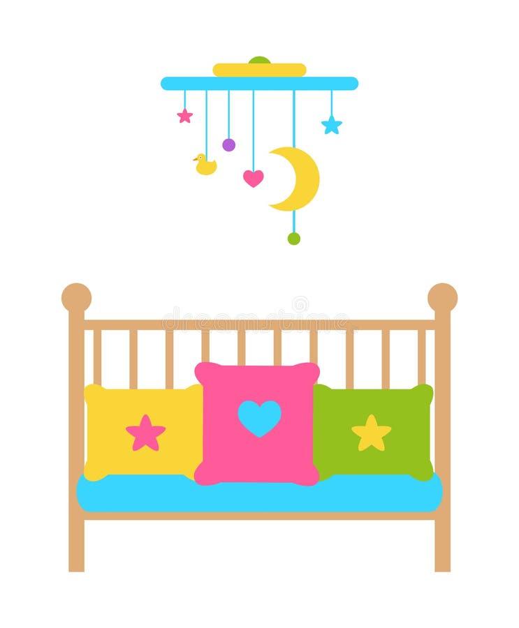 Κρεβάτι μικρών παιδιών παχνιών με τις φραγμένες ή πλεγμένες πλευρές διανυσματική απεικόνιση
