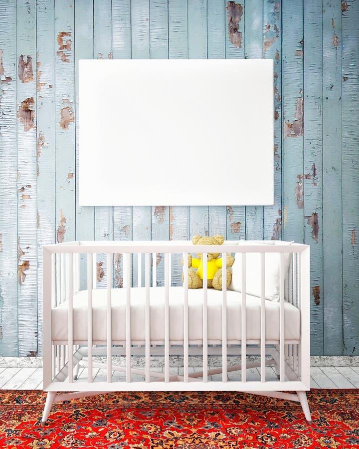 Κρεβάτι μωρών με τη χλεύη επάνω στην αφίσα, hipster σχέδιο, ελεύθερη απεικόνιση δικαιώματος