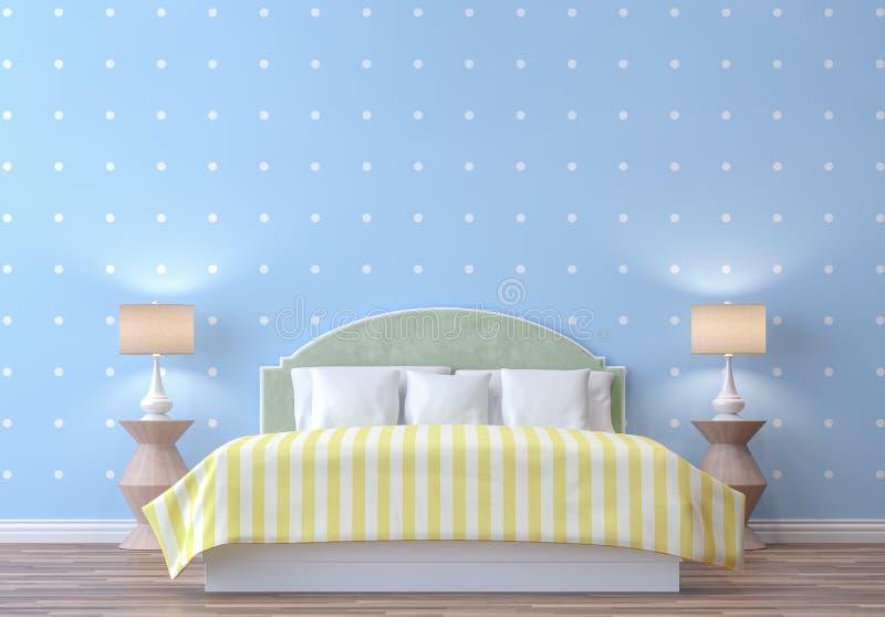 Κρεβατοκάμαρα κρητιδογραφιών με την μπλε και άσπρη τρισδιάστατη δίνοντας εικόνα ταπετσαριών σημείων απεικόνιση αποθεμάτων