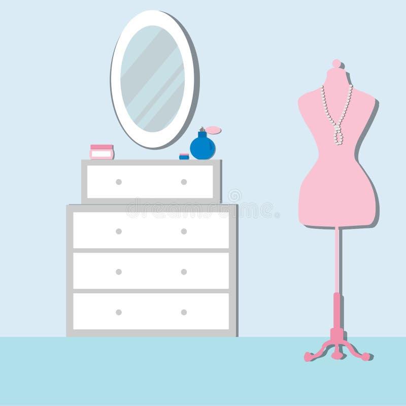 Κρεβατοκάμαρα με τα έπιπλα και το μανεκέν Στήθος των συρταριών απεικόνιση αποθεμάτων