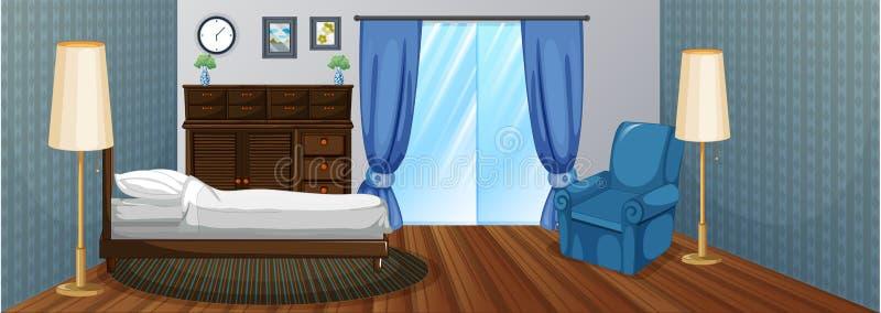 Κρεβατοκάμαρα με τα ξύλινα έπιπλα και την μπλε πολυθρόνα διανυσματική απεικόνιση