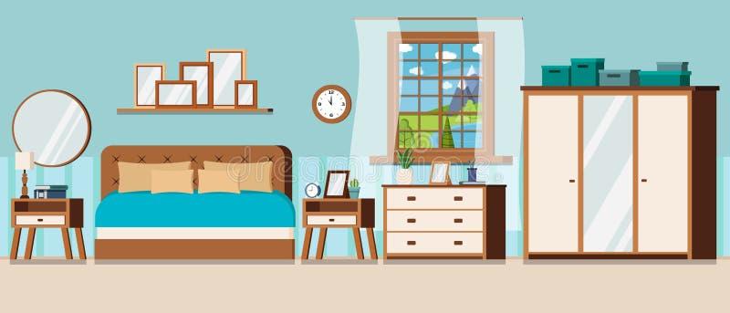 Κρεβατοκάμαρα με την άποψη παραθύρων του τοπίου θερινής ημέρας με την μπλε λίμνη και τα έπιπλα ελεύθερη απεικόνιση δικαιώματος