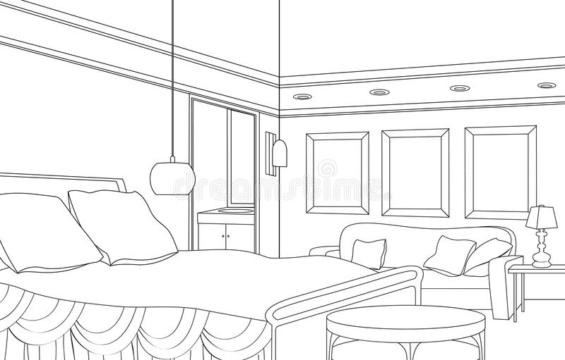 Κρεβατοκάμαρα με την εστία Διανυσματικά έπιπλα Editable εσωτερικό αναδρομικό ύφος απεικόνιση αποθεμάτων