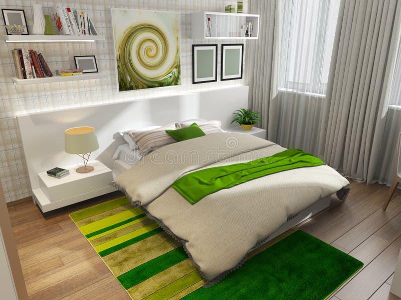 Κρεβατοκάμαρα με τον πράσινο τάπητα στοκ εικόνες με δικαίωμα ελεύθερης χρήσης