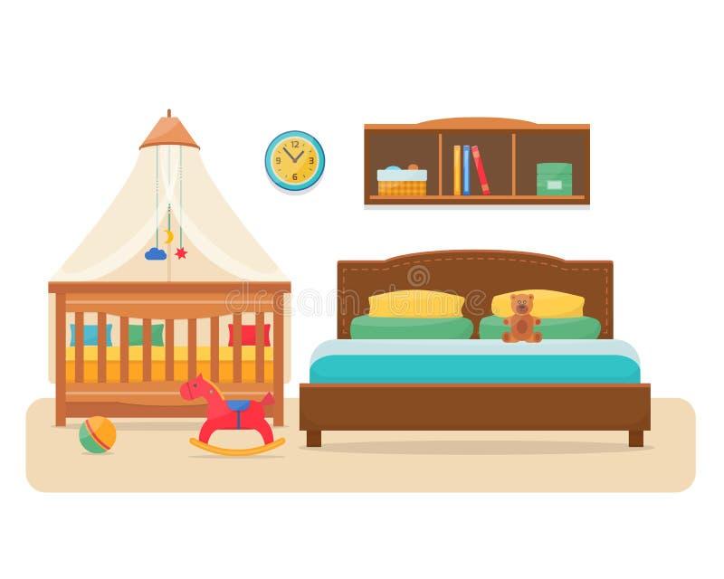 Κρεβατοκάμαρα με το κρεβάτι γονέων και την κούνια μωρών ελεύθερη απεικόνιση δικαιώματος