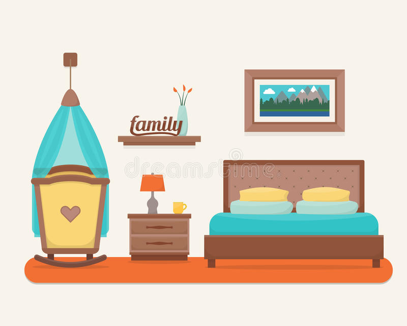Κρεβατοκάμαρα με το κρεβάτι και την κούνια διανυσματική απεικόνιση