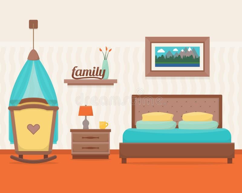 Κρεβατοκάμαρα με το κρεβάτι και την κούνια ελεύθερη απεικόνιση δικαιώματος
