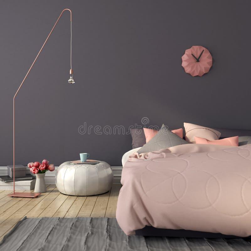 Κρεβατοκάμαρα στο ρόδινο και γκρίζο χρώμα στοκ εικόνες με δικαίωμα ελεύθερης χρήσης