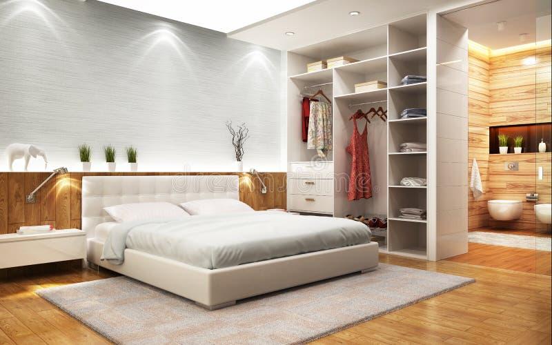 Κρεβατοκάμαρα σύγχρονου σχεδίου με το λουτρό και το ντουλάπι απεικόνιση αποθεμάτων
