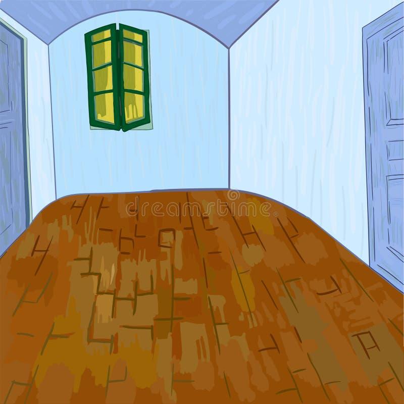 Κρεβατοκάμαρα του Βαν Γκογκ χωρίς τα έπιπλα και πράγματα διανυσματική απεικόνιση