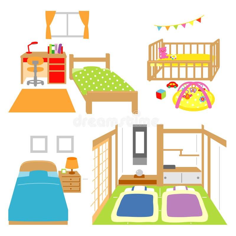 Κρεβατοκάμαρα, δωμάτιο του παιδιού, παχνί, ιαπωνικό δωμάτιο ύφους διανυσματική απεικόνιση