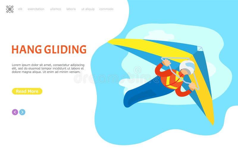 Κρεμάστε το γλιστρώντας ιστοχώρο προσώπων ανεμοπλάνων χόμπι με το κείμενο διανυσματική απεικόνιση