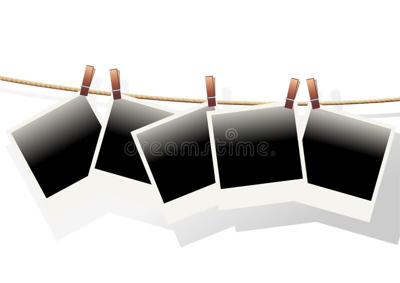κρεμασμένα polaroids διανυσματική απεικόνιση