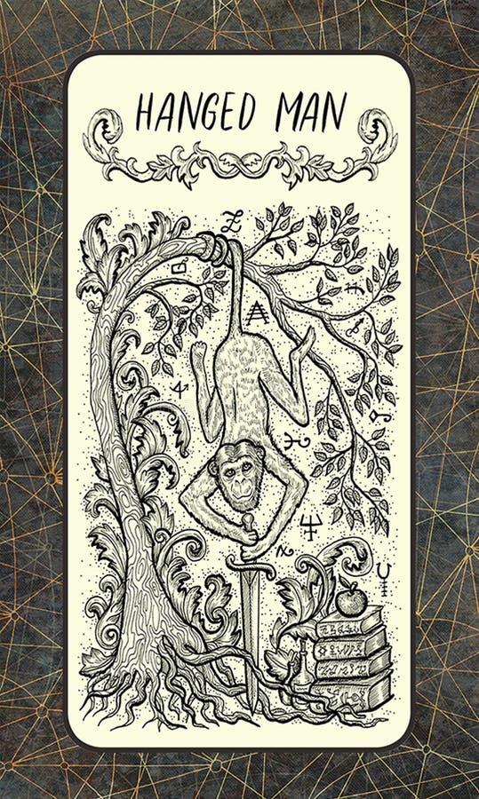 Κρεμασμένο άτομο Σημαντική κάρτα Arcana Tarot απεικόνιση αποθεμάτων