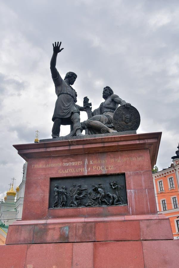 Κρεμλίνο σε Nizhny Novgorod, Ρωσία Μνημείο σε Minin και Pozharsky στοκ εικόνα με δικαίωμα ελεύθερης χρήσης
