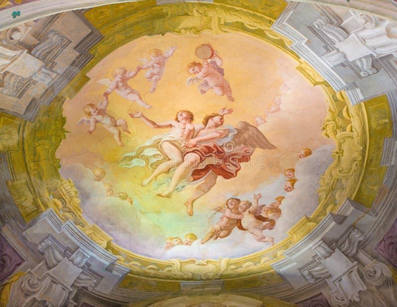 ΚΡΕΜΟΝΑ, ΙΤΑΛΙΑ - 24 ΜΑΐΟΥ 2016: Η νωπογραφία της αποθέωση Αγίου στον υπόγειο θάλαμο του δευτερεύοντος παρεκκλησιού Chiesa Di SAN στοκ φωτογραφία με δικαίωμα ελεύθερης χρήσης